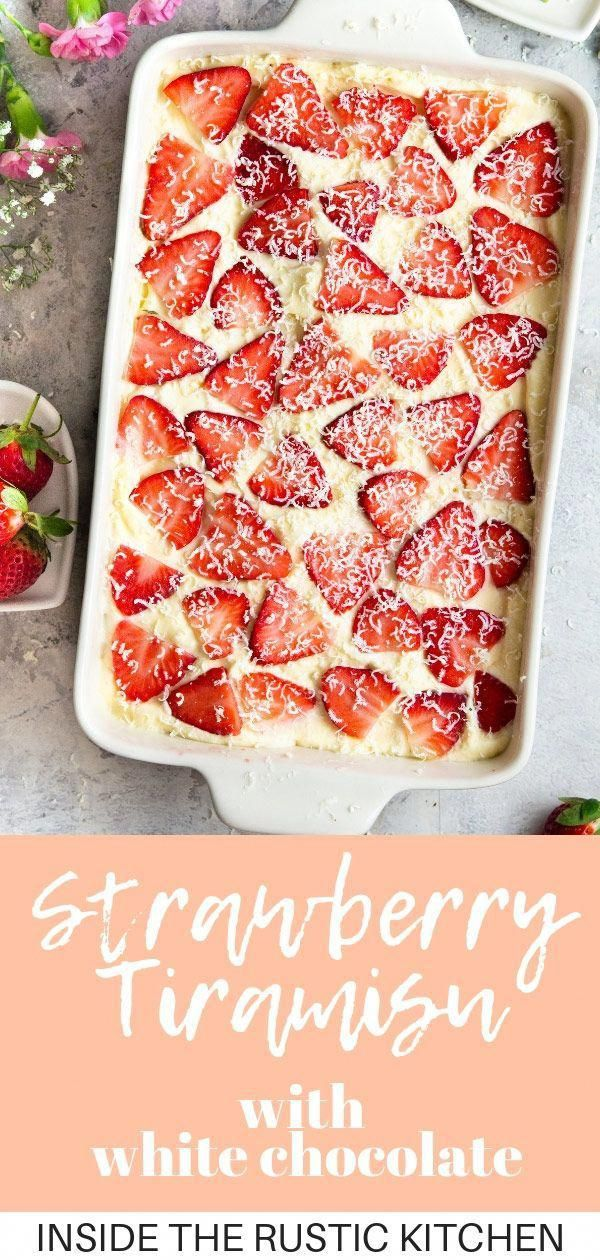 Light, creamy and delicious Strawberry Tiramisu made with juicy strawberries, Cointreauliqueur, and shavings of white chocolate. It's a fresh and summery spin on the classic Italian dessert that's just as delicious and easy to make. via @InsideTRK