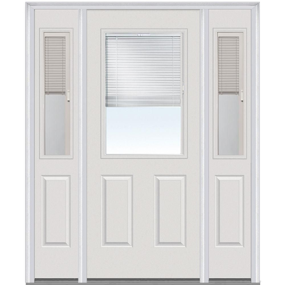 Steves Sons 36 In X 80 In 1 Panel 1 2 Lite Mini Blind Primed White Steel Prehung Front Door S20h Wmb 36 N4ro In 2020 Mini Blinds Blinds Doors