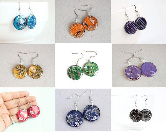 Circuit board earrings Geeky earrings recycled por ReComputing