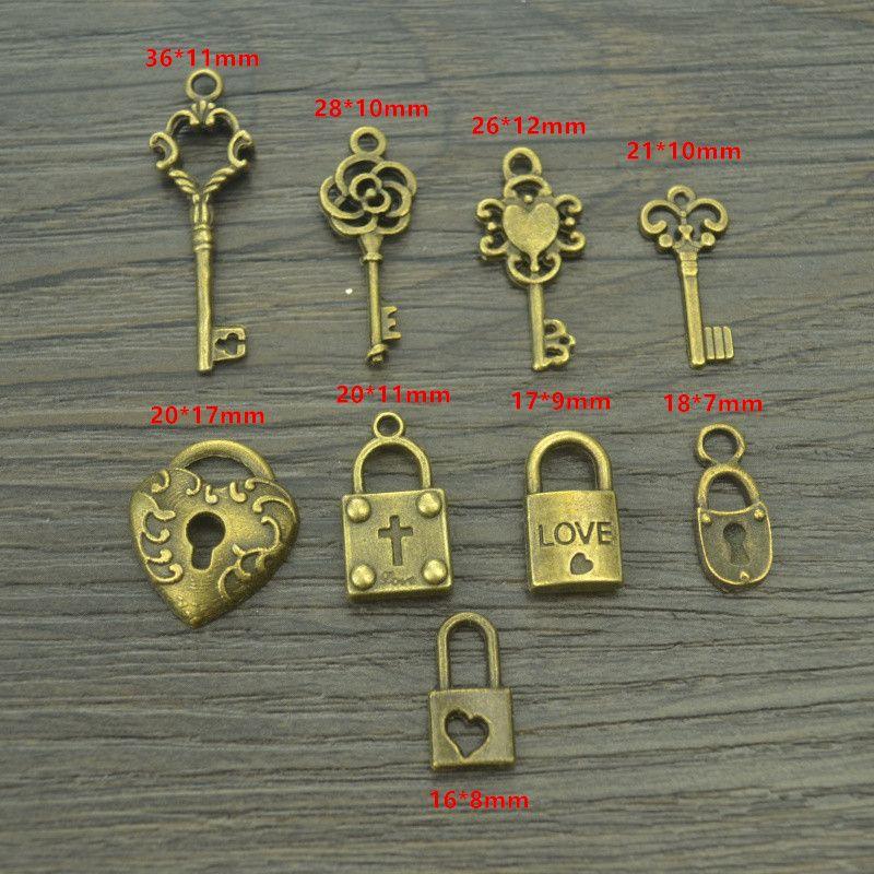 9 개 믹스 판매 골동품 청동 매력 금속 키 및 심장 잠금 펜던트 DIY 수제 공예 42116B
