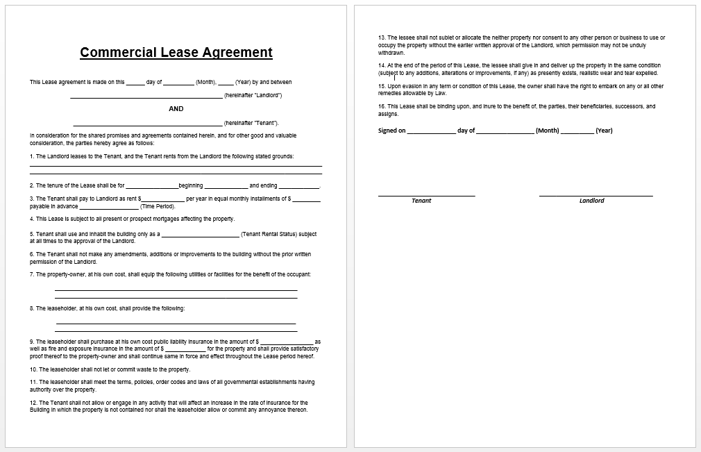 Commercial Lease Agreement Template  Templates