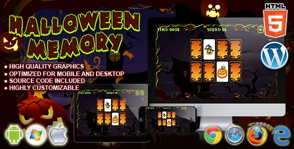 Halloween Memory - HTML5 Puzzle Game | Code-Scripts-and