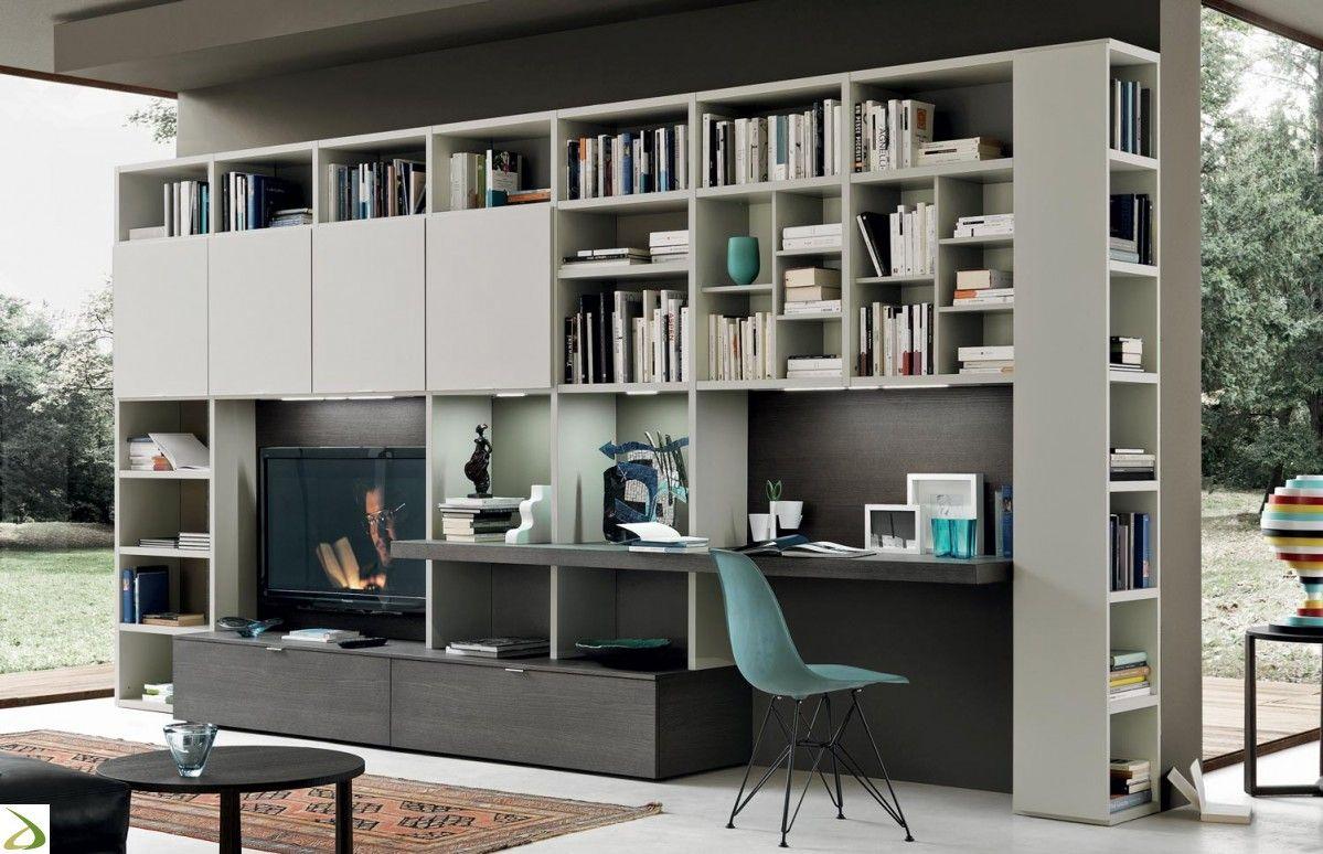 Composizione Soggiorno ~ Composizione soggiorno di design con scrittoio book home