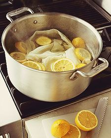 Martha Stewart Living:  To whiten cloth napkins, linens, and even socks, fill a large pot with water, and drop in several slices of lemon. Bring to a boil, then turn off the heat. Add the linens, and let them soak for about an hour. Then launder as usual.