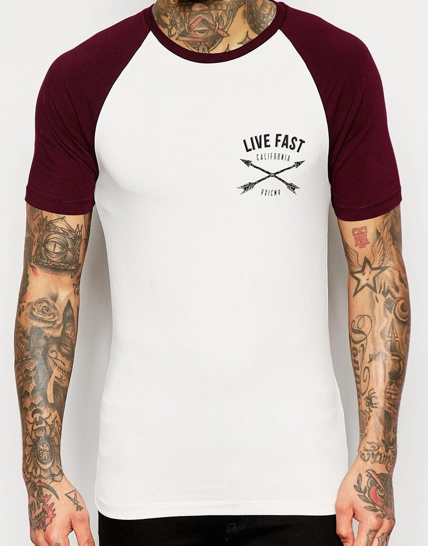 47be7ad2 Image 3 of ASOS Muscle T-Shirt With Contrast Raglan Sleeves And Chest Print  In Burgundy