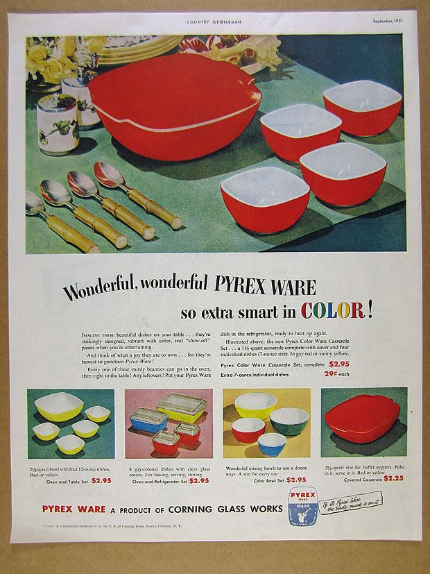 1951 corning glass PYREX WARE red yellow blue bowls dishes vintage print Ad
