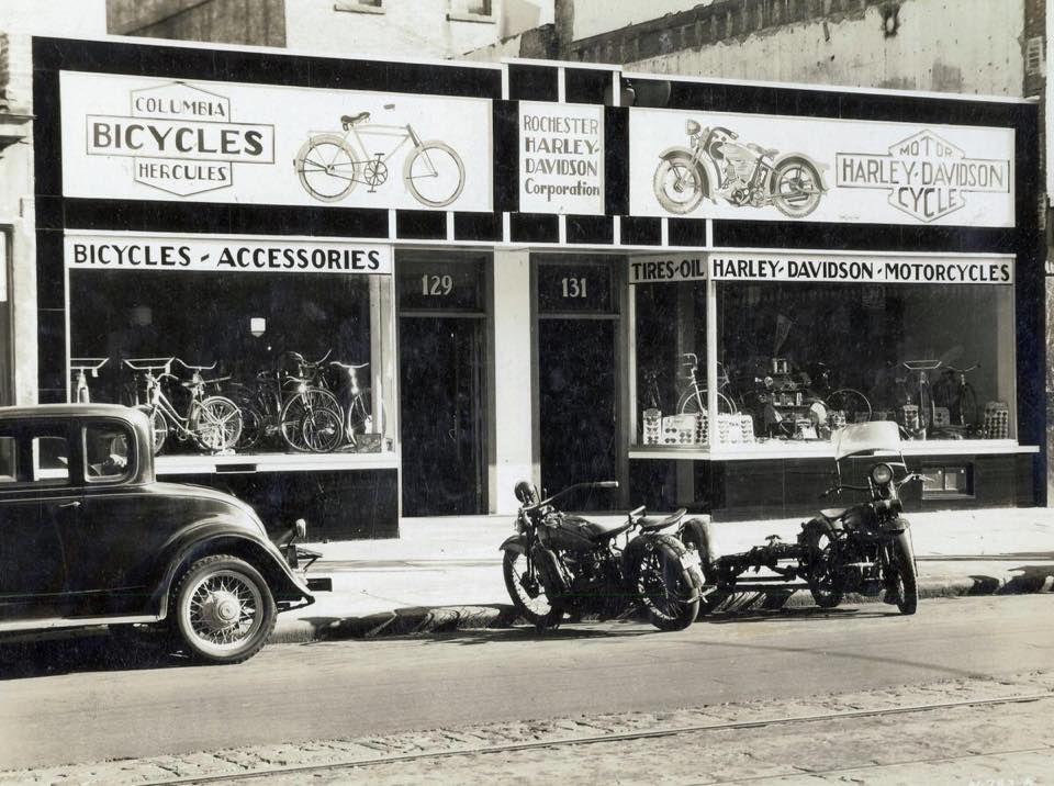 Rochester Harley Dealer's store. Harley bobber, Harley