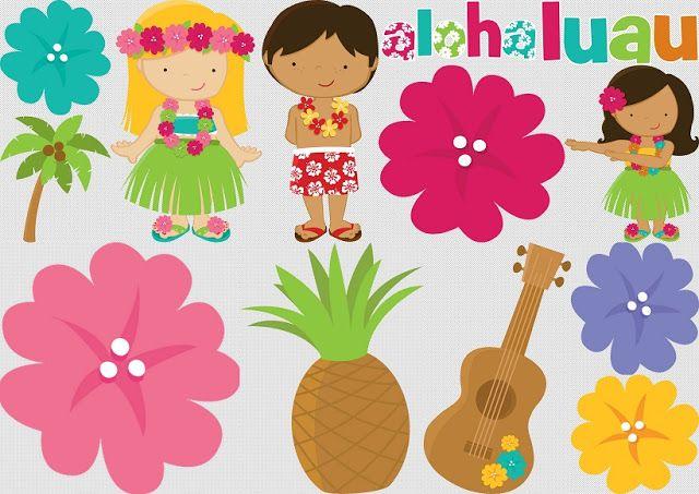 Clipart de Luau para Nios  fiesta hawaiana infantil  Pinterest