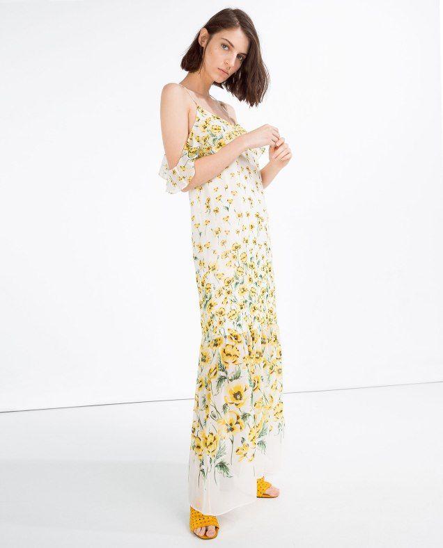 Vestidos largos con flores amarillas