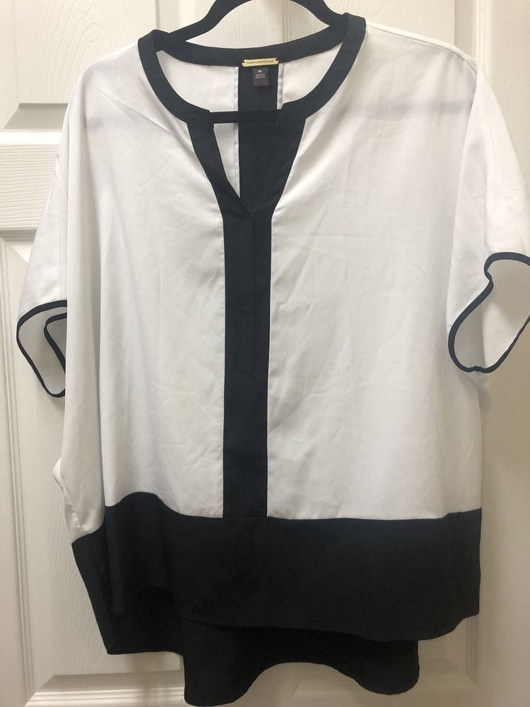 6d3982dd6c618b Dana Buchman blouse shirt hi low top tunic black   white dolman silky Size  XL  fashion  clothing  shoes  accessories  womensclothing  tops (ebay link)
