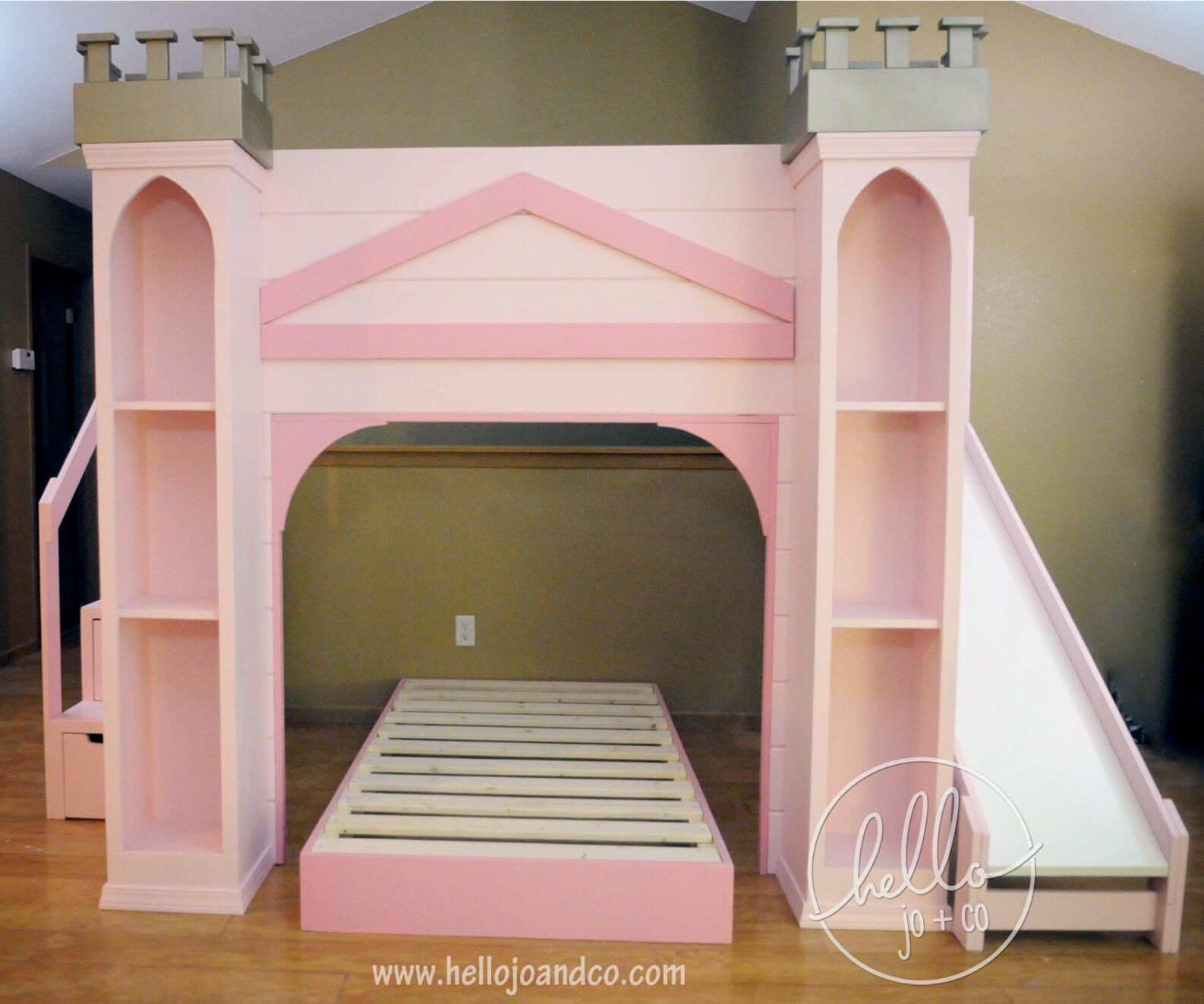 Custom Color Castle Playhouse Bed with drawer storage
