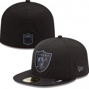 5e69fa30 Oakland Raiders New Era NFL Black On Black Fitted 59Fifty Hat (Black ...