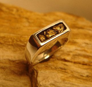 14k Gold Nugget Wedding Ring 14k Gold Nugget Wedding Band Natural
