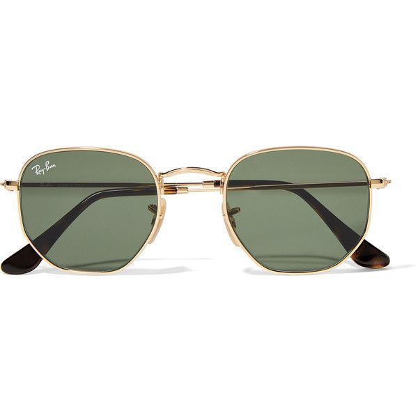 5537faae4e Ray-Ban Hexagonal-frame gold-tone sunglasses ( 160) ❤ liked on Polyvore  featuring accessories