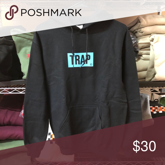 9651858d25d9 Trap Bogo Hoodie - Black w  Neon Blue SuperlineATL 50% Cotton   50%  Polyester Finished in USA True to Size Size up for a looser fit  SuperlineATL Sweaters