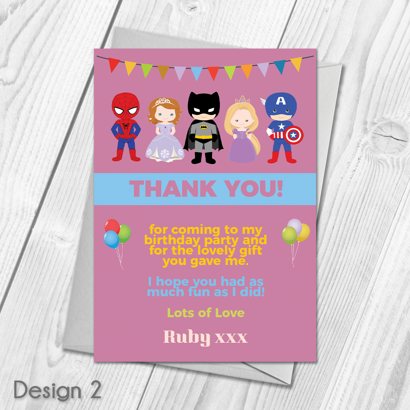 Personalised Boys Superhero Birthday Party Invitations with Envelopes