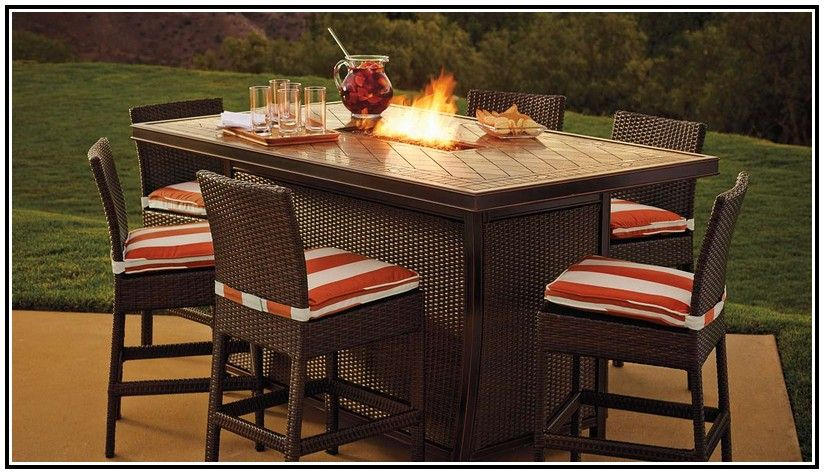 Bar Height Patio Dining Set With Fire Pit Patio Dining