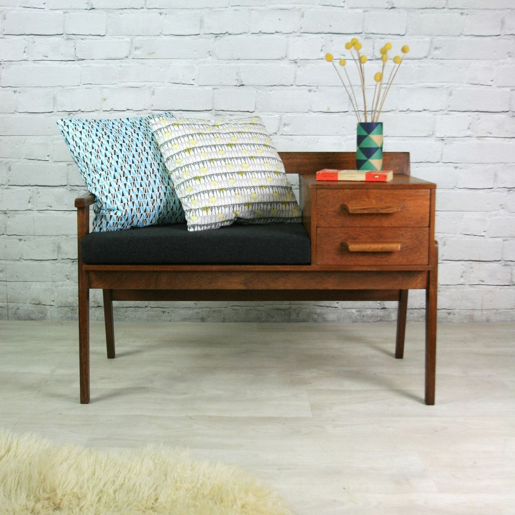 teak retro furniture. Vintage Teak 1960s Telephone Seat Retro Furniture F