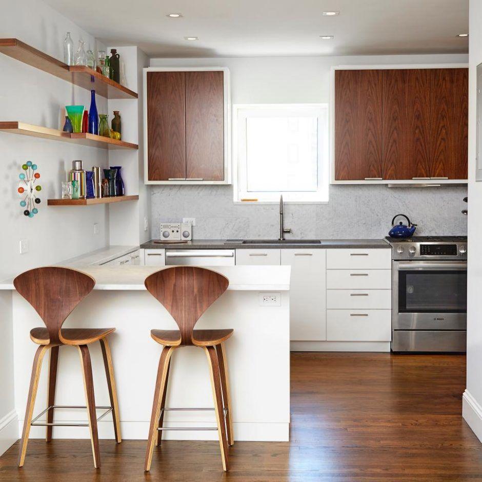 Kitchen: Open Plan Modern Kitchen With Barstools. open plan kitchen ...