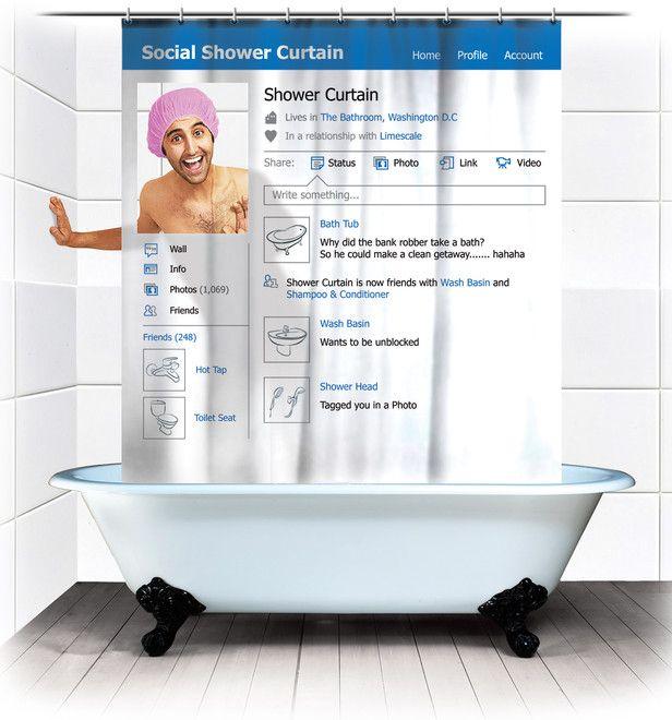 Facebook badeforhæng - Hæng på Facebook i brusebadet!