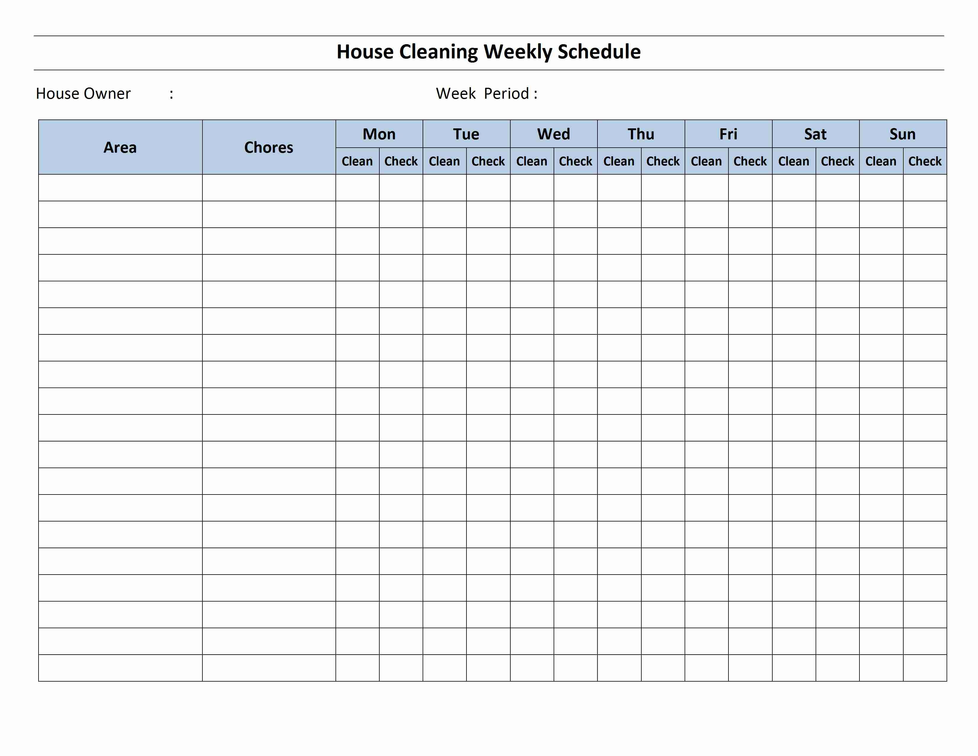 cleaning schedule template house cleaning schedule template for