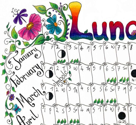 Downloadable Lunar moon calendar 2016 A4 by gwendaviesart on Etsy