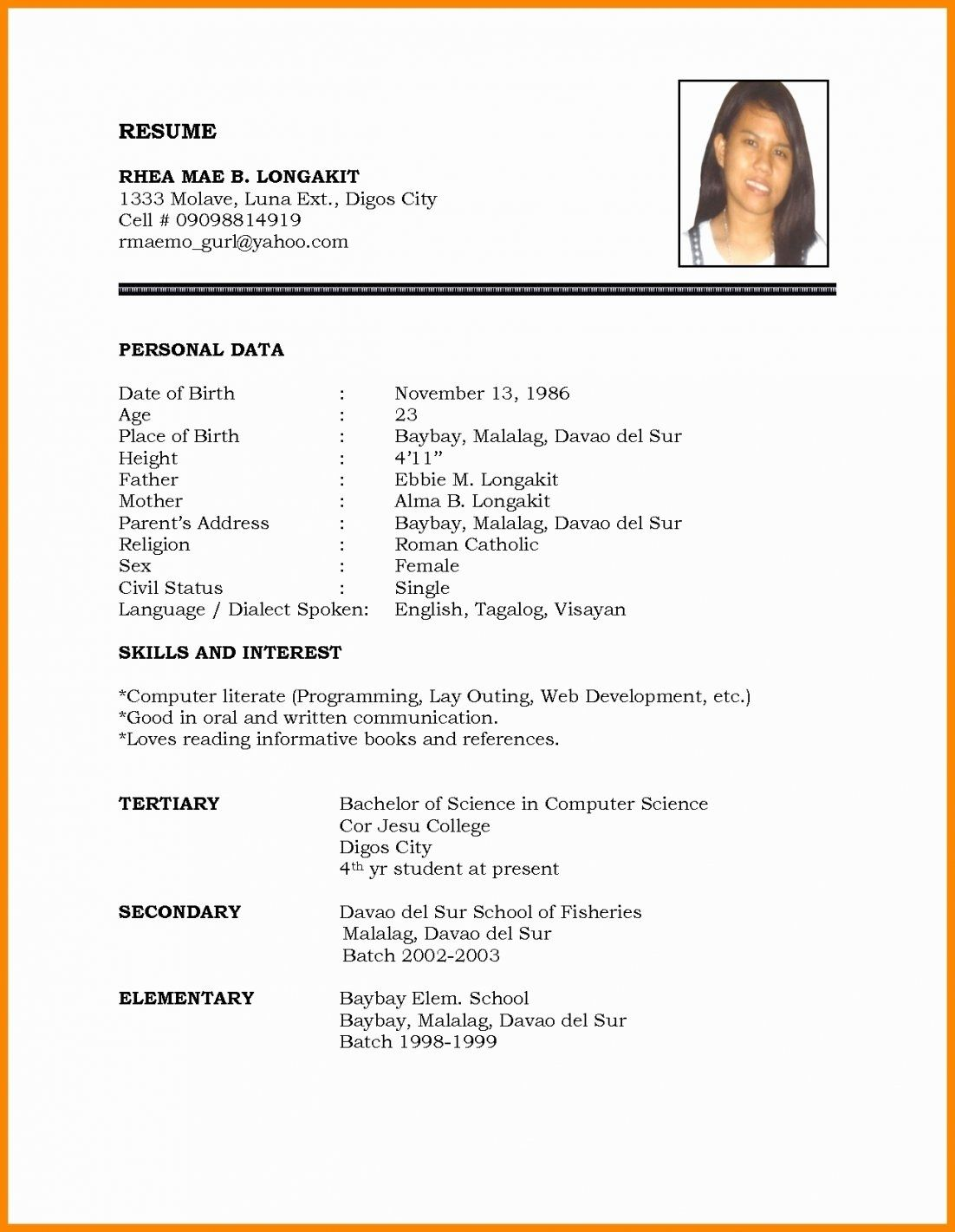 Marriage Resume Format Word File Beautiful Biodata Doc In