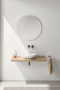 Photo of Idee zu Kombination von Unterschrank und Bord über Waschmaschine / Holz   Interno minimalista, Interior design del bagno, Interno del bagno