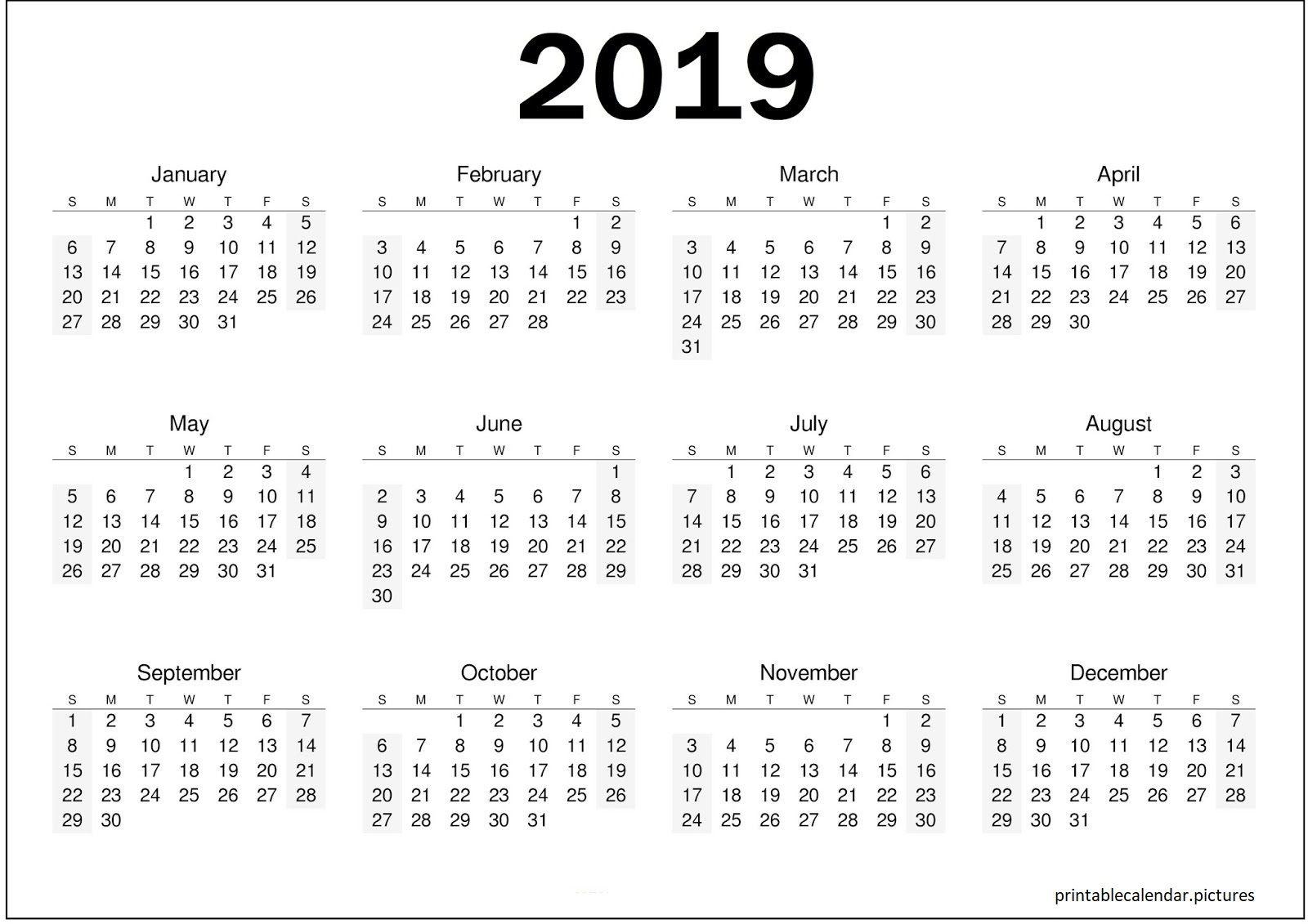 Printable Yearly Calendar 2019 Calendar 2019 template