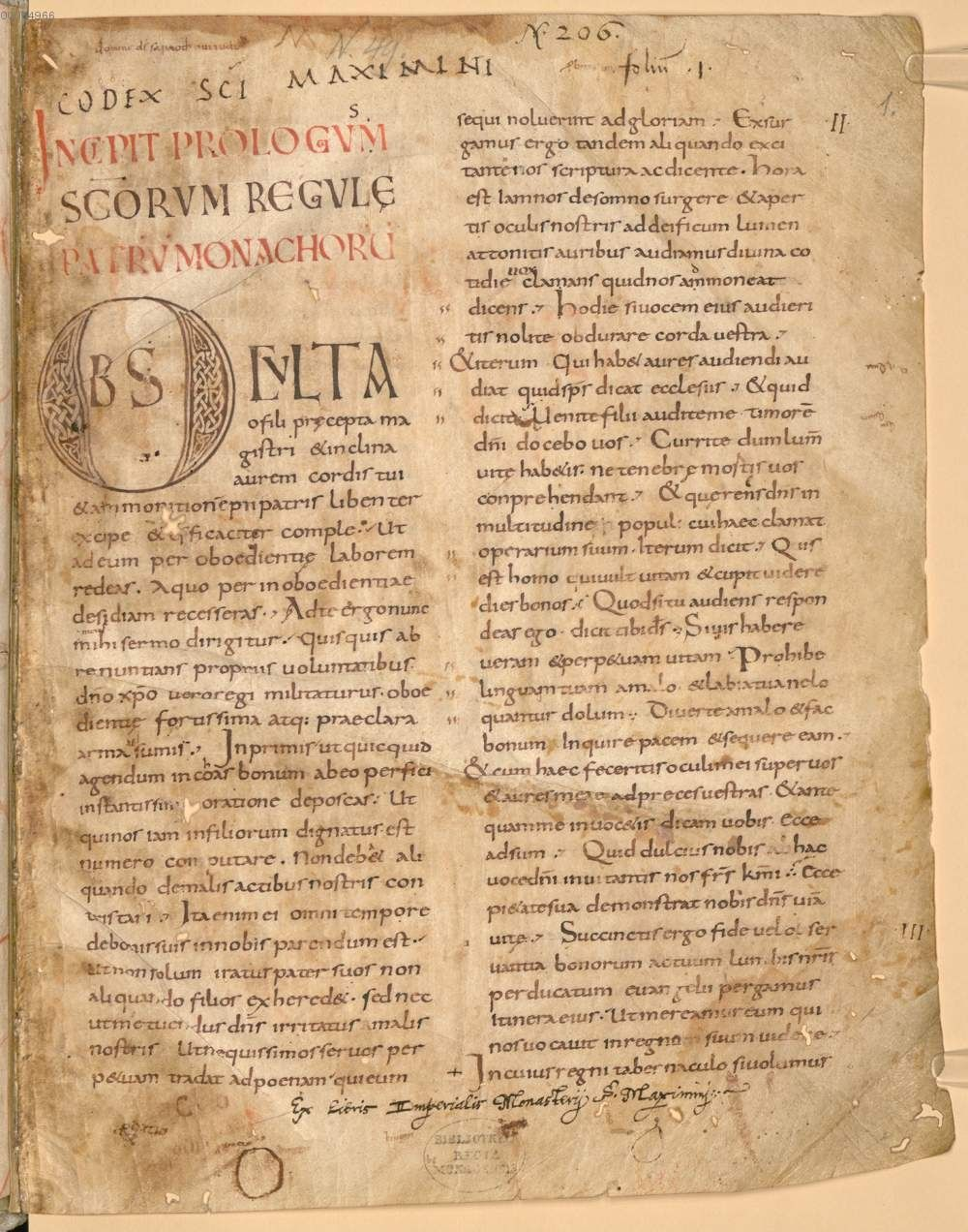 From the Bavarian State Library (Munich), Clm. 28118. A 9th-century copy of the Rule of Benedict.