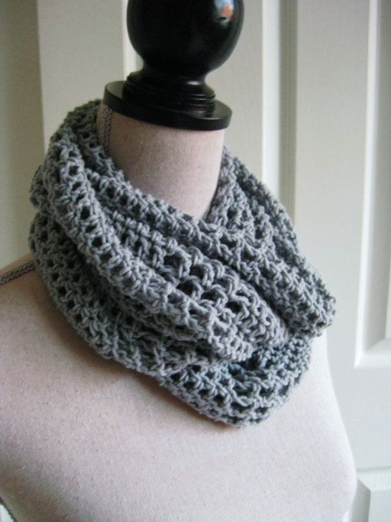 Crochet Lacy Cowl-Scarf-Soft Gray Circle Scarf-Lacy by RoseJasmine ...