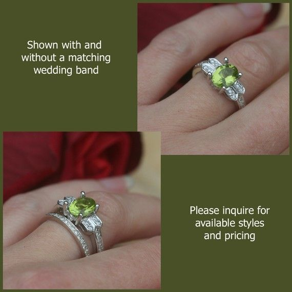 Birthstone Ring August Green Peridot With Diamonds Jewelry Baby Mother S Gift Bright Ls378