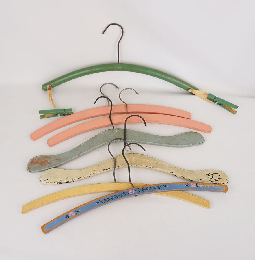 7 Vintage Painted Wooden Clothes Hangers Coathangers