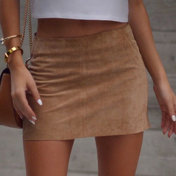 Nadia Mini Skirt in Suede Tan by Motel | Beige shorts, Suede skirt ...