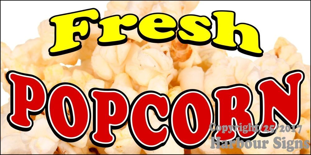 Choose Your Size) Fresh Popcorn DECAL Food Truck Vinyl Sign Concession #HarbourSigns