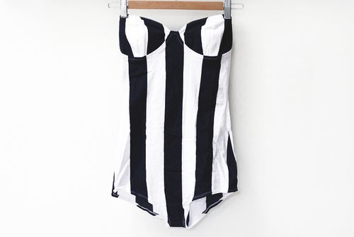 Asos black and white striped swimsuit.