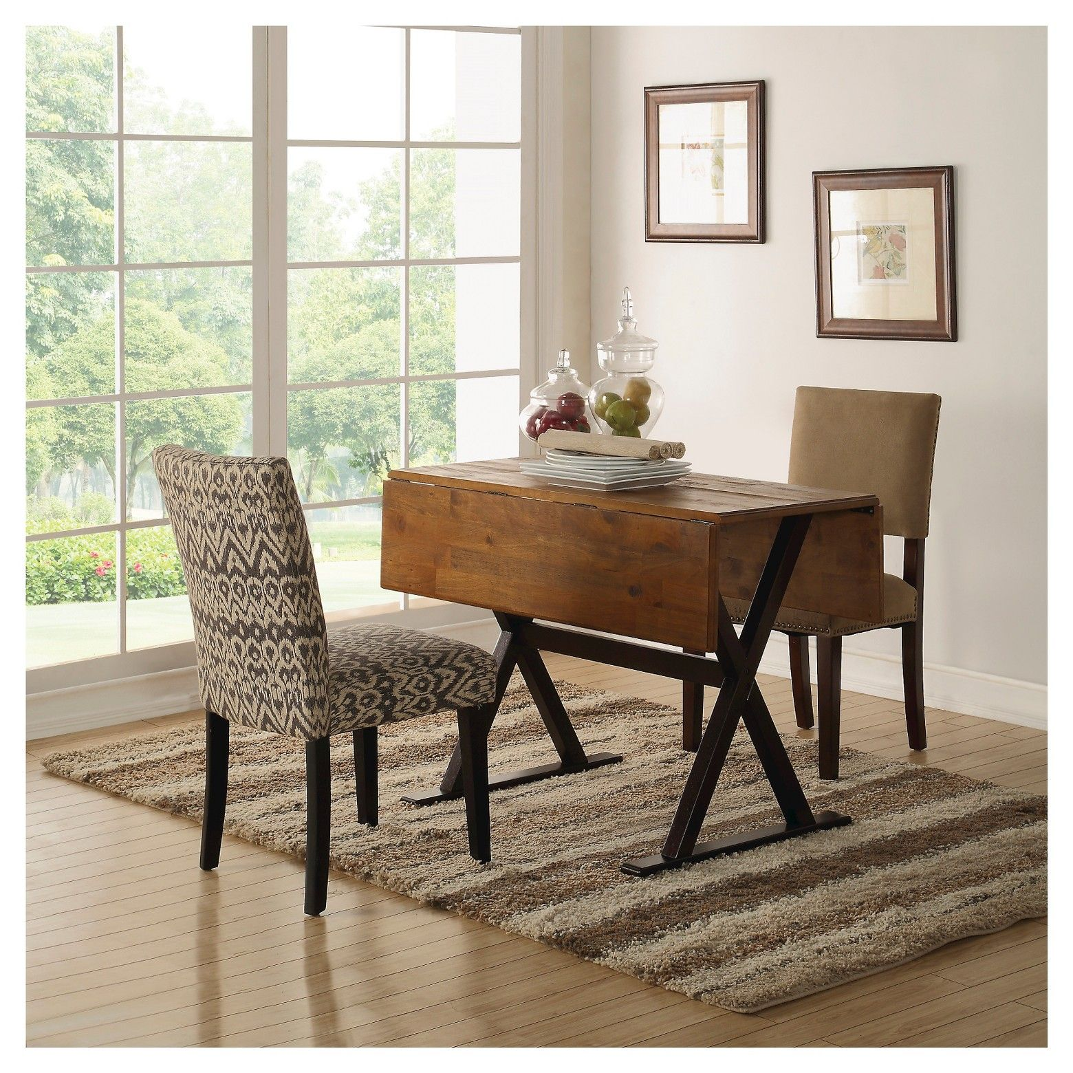 threshold 40 square drop leaf rustic dining table small spaces
