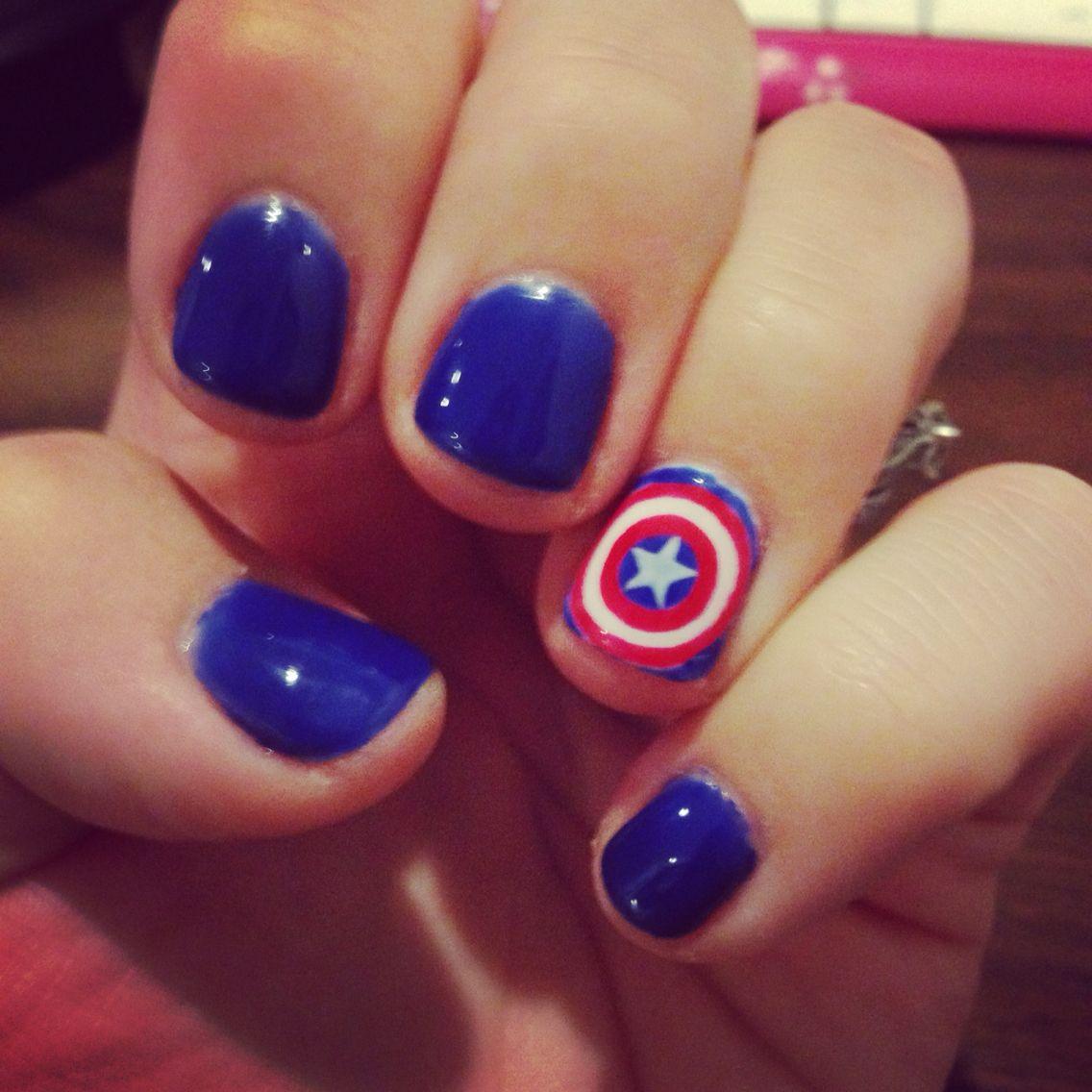 My Captain America nails!!   Nail art   Pinterest   Captain america ...