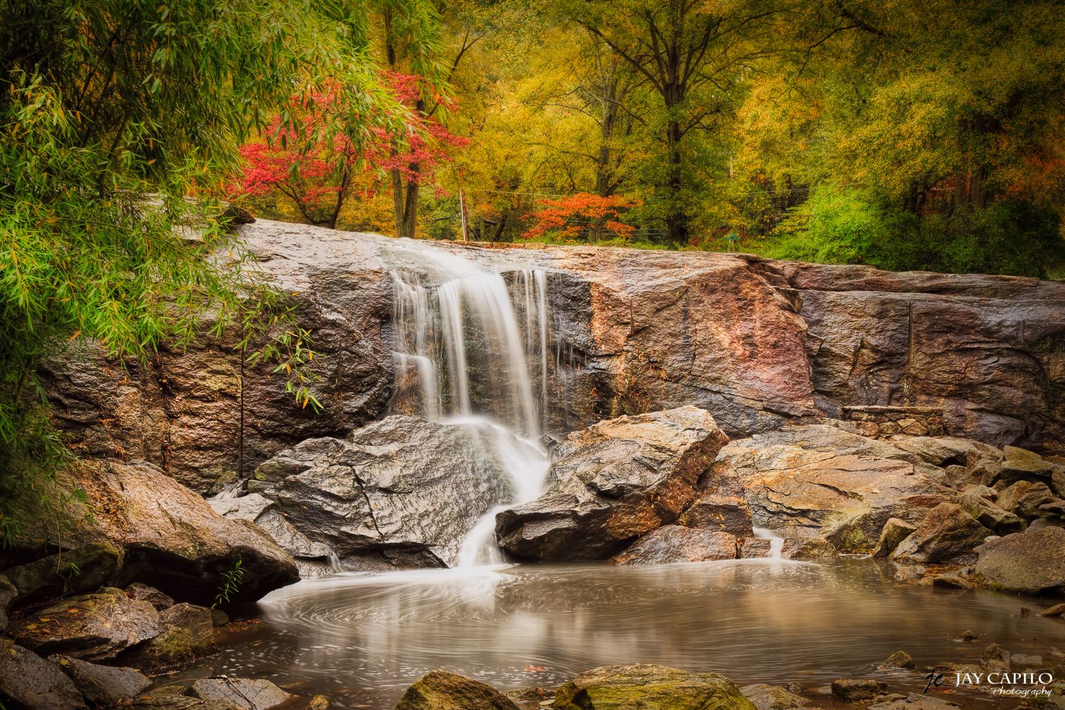 This waterfall is in the Rock Quarry Garden of Cleveland Park in ...