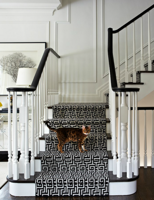 The Chinoiserie Stair Runner Staircase Styles White Staircase | Decorative Carpet For Stairs | Rectangular Cord Treads | Gingham | Brown | Animal Print | Stair Runner Matching Landing