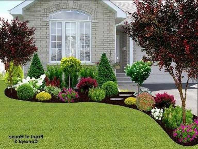 40 Exciting Landscape Ideas For Front Of House Page 28 Of 40 In 2020 Front Yard Landscaping Design House Landscape Front Landscaping