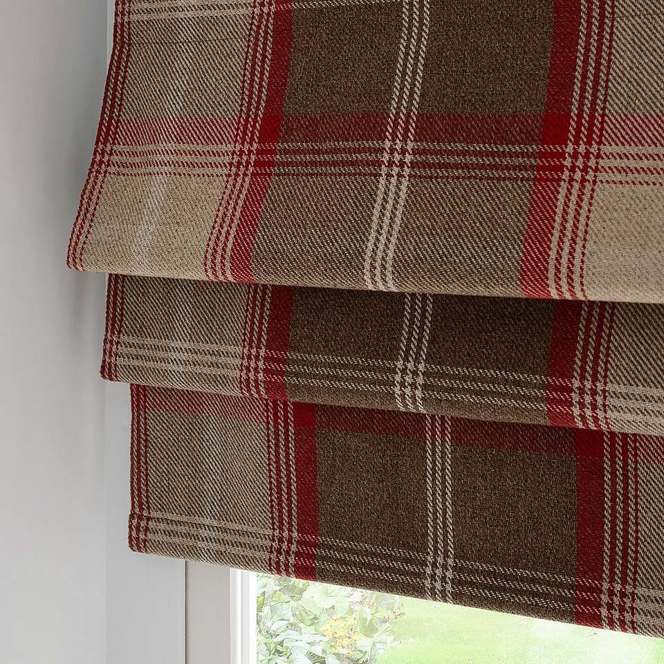 Highland Red Check Blackout Roman Blind Dunelm Roman