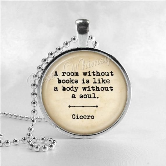 Book Quote Necklace A Room Without Books Book Pendant Jewelry
