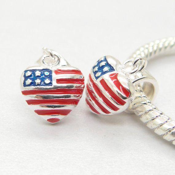USA Flag Charm Heart Shape Dangle Sterling Silver