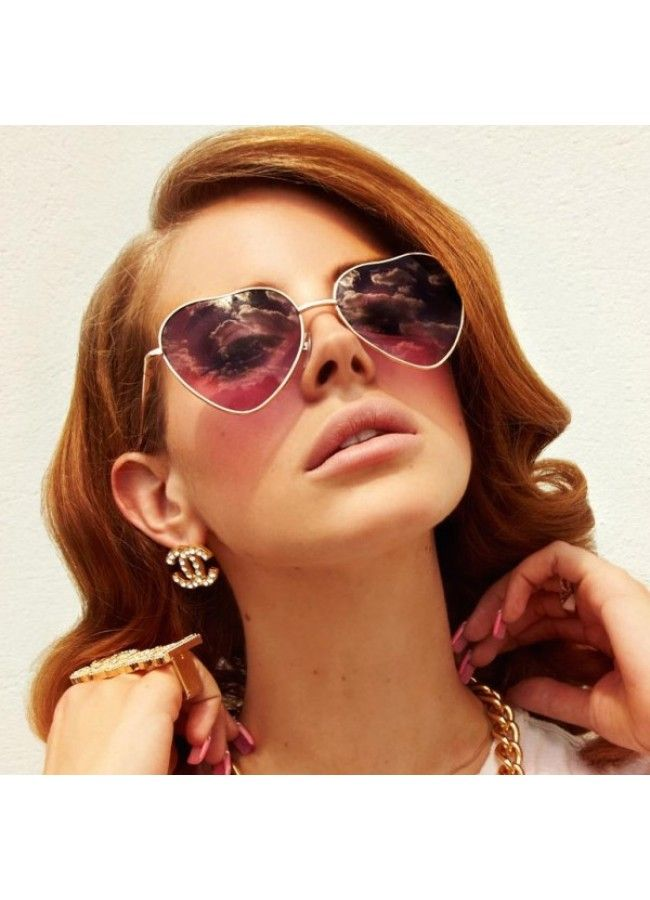 00218a77e8 Lana Del Ray Style Split Tint Heart Sunglasses - Celebrity Sunglasses -  Collections