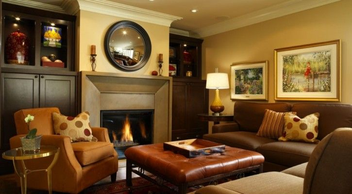 Combined With Chic Ceiling Lighting Above Warm Sofa Living Room Colour And Square Leather Coffee Table Ideas Paint Colors Design