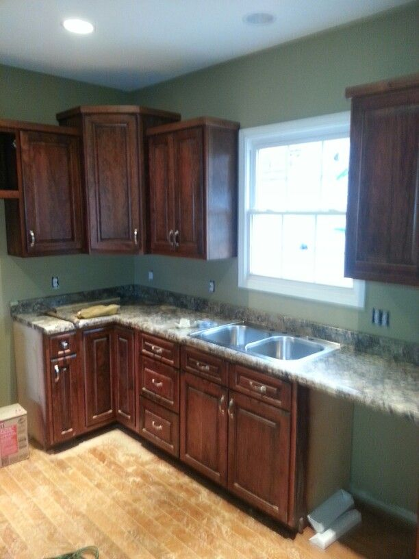 Cherry cabinets mahogany stained | Kitchen remodel, Cherry ...