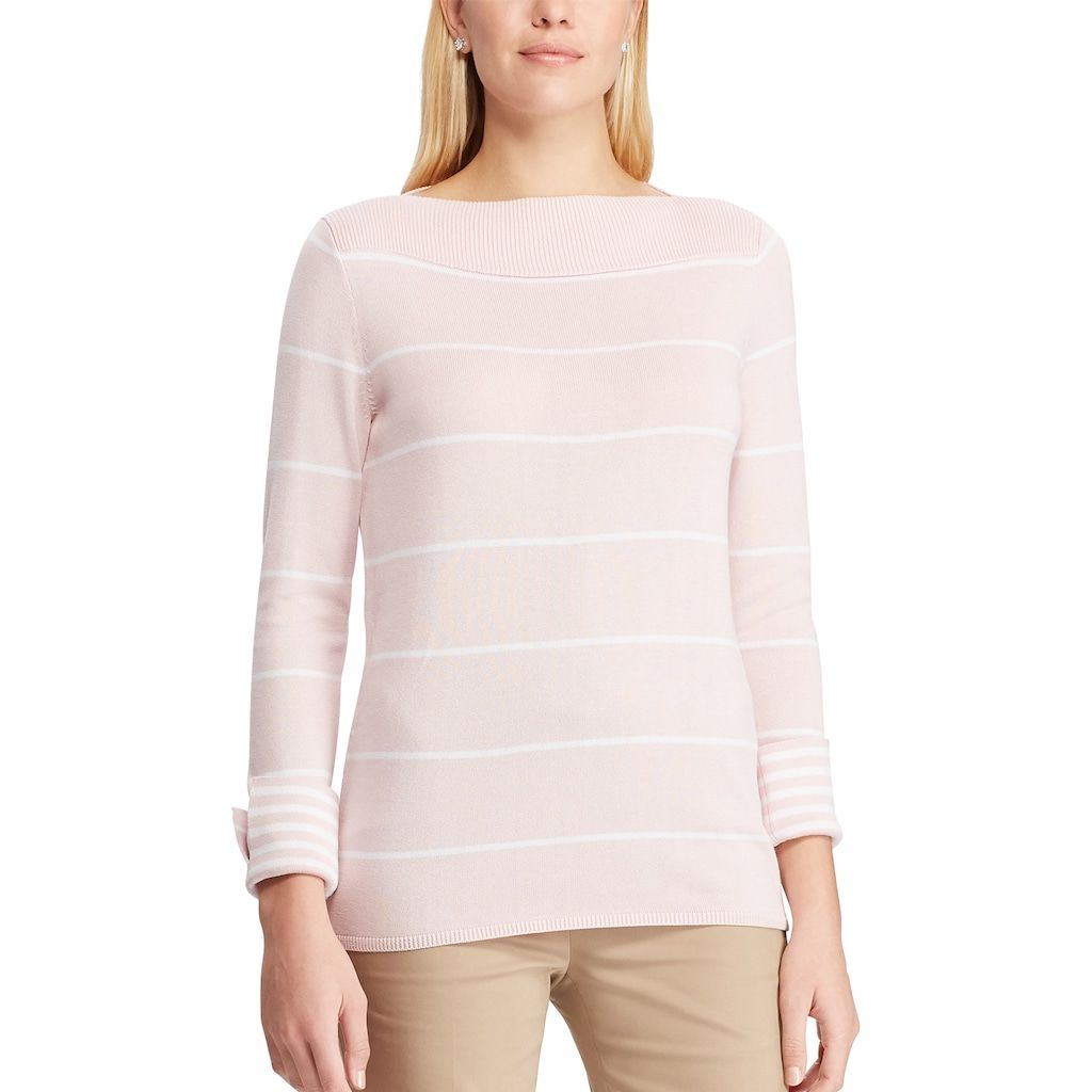 Chaps Womens Stitched-Front Boatneck Pull Over Long Sleeve Sweater