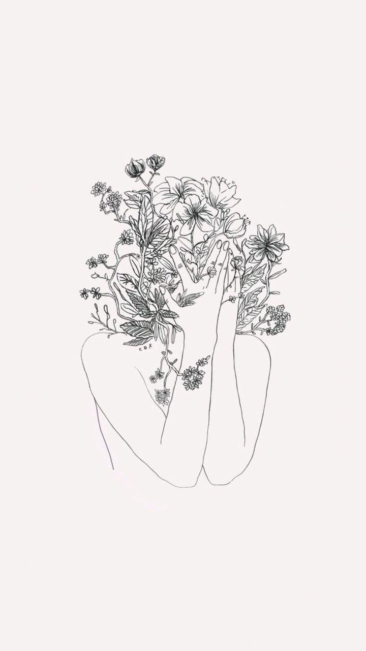 Flower Girl Minimalist Illustration Line Art Drawings Aesthetic Art Drawings