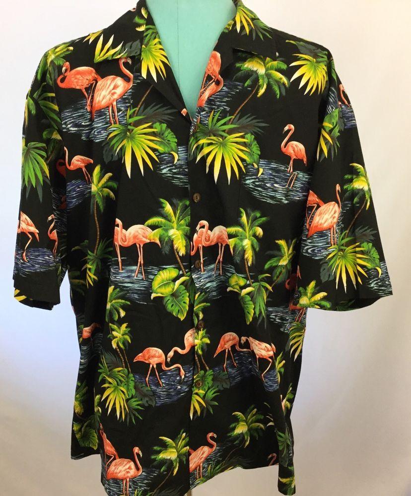 34186feb VTG Pacific Legend Men Hawaiian Aloha Shirt Black Flamingo USA